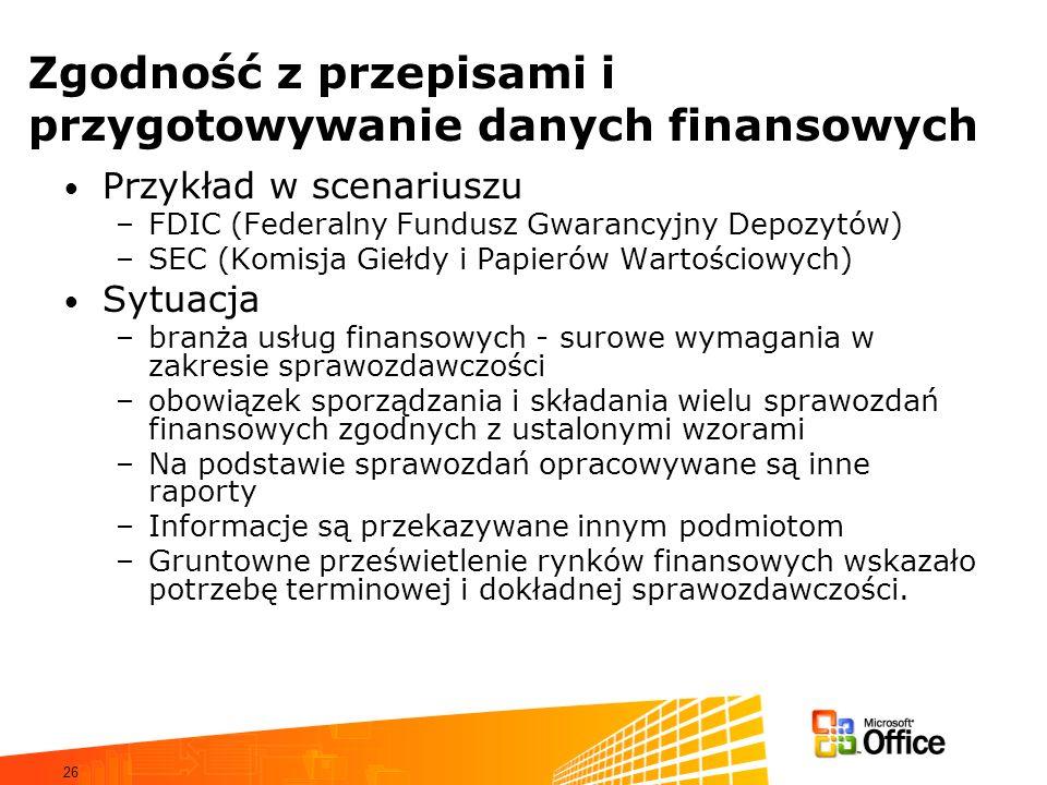 26 Zgodność z przepisami i przygotowywanie danych finansowych Przykład w scenariuszu –FDIC (Federalny Fundusz Gwarancyjny Depozytów) –SEC (Komisja Giełdy i Papierów Wartościowych) Sytuacja –branża usług finansowych - surowe wymagania w zakresie sprawozdawczości –obowiązek sporządzania i składania wielu sprawozdań finansowych zgodnych z ustalonymi wzorami –Na podstawie sprawozdań opracowywane są inne raporty –Informacje są przekazywane innym podmiotom –Gruntowne prześwietlenie rynków finansowych wskazało potrzebę terminowej i dokładnej sprawozdawczości.