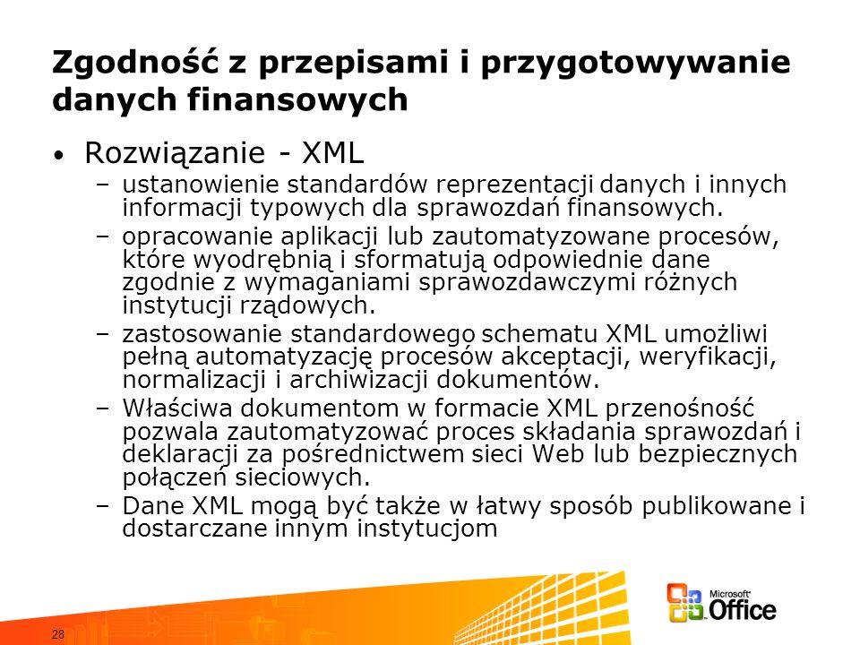 28 Zgodność z przepisami i przygotowywanie danych finansowych Rozwiązanie - XML –ustanowienie standardów reprezentacji danych i innych informacji typowych dla sprawozdań finansowych.