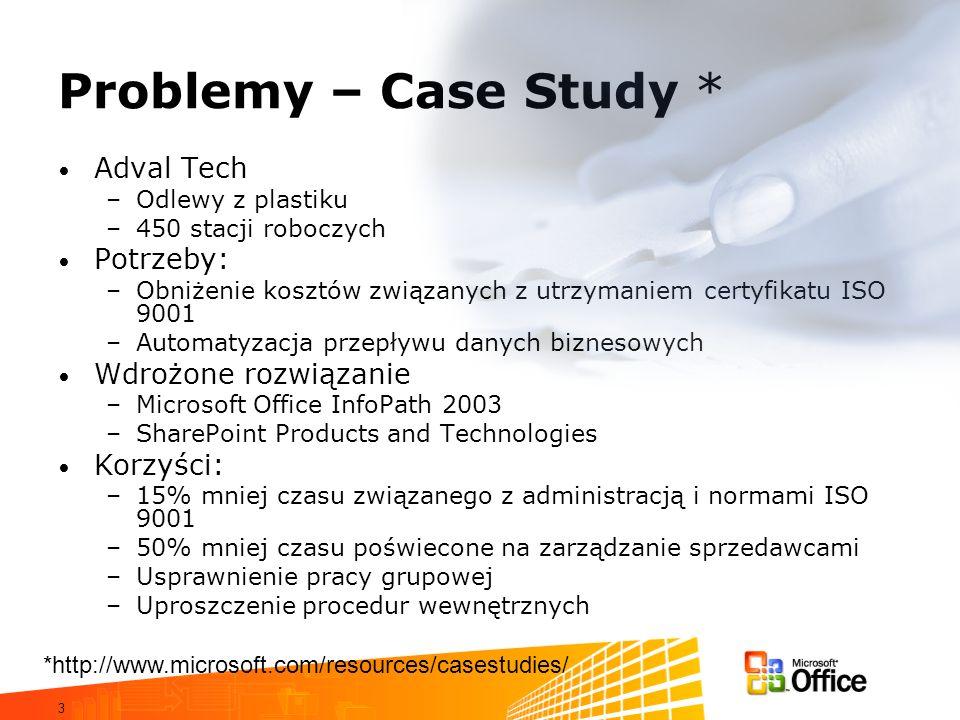 3 Problemy – Case Study * Adval Tech –Odlewy z plastiku –450 stacji roboczych Potrzeby: –Obniżenie kosztów związanych z utrzymaniem certyfikatu ISO 9001 –Automatyzacja przepływu danych biznesowych Wdrożone rozwiązanie –Microsoft Office InfoPath 2003 –SharePoint Products and Technologies Korzyści: –15% mniej czasu związanego z administracją i normami ISO 9001 –50% mniej czasu poświecone na zarządzanie sprzedawcami –Usprawnienie pracy grupowej –Uproszczenie procedur wewnętrznych *http://www.microsoft.com/resources/casestudies/