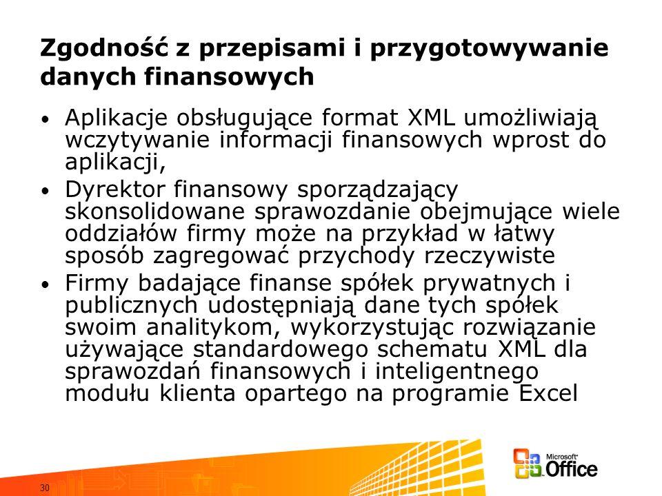 30 Zgodność z przepisami i przygotowywanie danych finansowych Aplikacje obsługujące format XML umożliwiają wczytywanie informacji finansowych wprost do aplikacji, Dyrektor finansowy sporządzający skonsolidowane sprawozdanie obejmujące wiele oddziałów firmy może na przykład w łatwy sposób zagregować przychody rzeczywiste Firmy badające finanse spółek prywatnych i publicznych udostępniają dane tych spółek swoim analitykom, wykorzystując rozwiązanie używające standardowego schematu XML dla sprawozdań finansowych i inteligentnego modułu klienta opartego na programie Excel