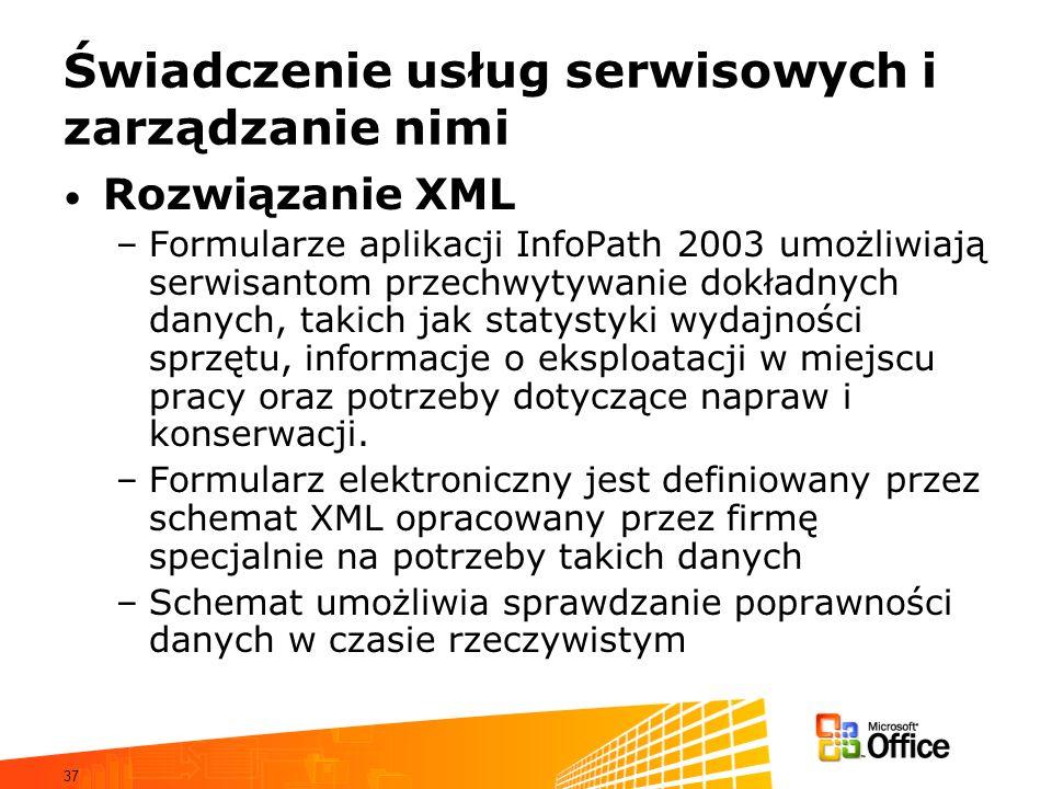 37 Świadczenie usług serwisowych i zarządzanie nimi Rozwiązanie XML –Formularze aplikacji InfoPath 2003 umożliwiają serwisantom przechwytywanie dokładnych danych, takich jak statystyki wydajności sprzętu, informacje o eksploatacji w miejscu pracy oraz potrzeby dotyczące napraw i konserwacji.