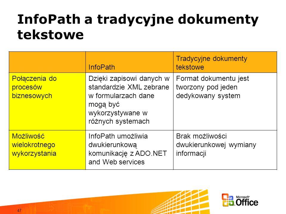 47 InfoPath a tradycyjne dokumenty tekstowe InfoPath Tradycyjne dokumenty tekstowe Połączenia do procesów biznesowych Dzięki zapisowi danych w standardzie XML zebrane w formularzach dane mogą być wykorzystywane w różnych systemach Format dokumentu jest tworzony pod jeden dedykowany system Możliwość wielokrotnego wykorzystania InfoPath umożliwia dwukierunkową komunikację z ADO.NET and Web services Brak możliwości dwukierunkowej wymiany informacji