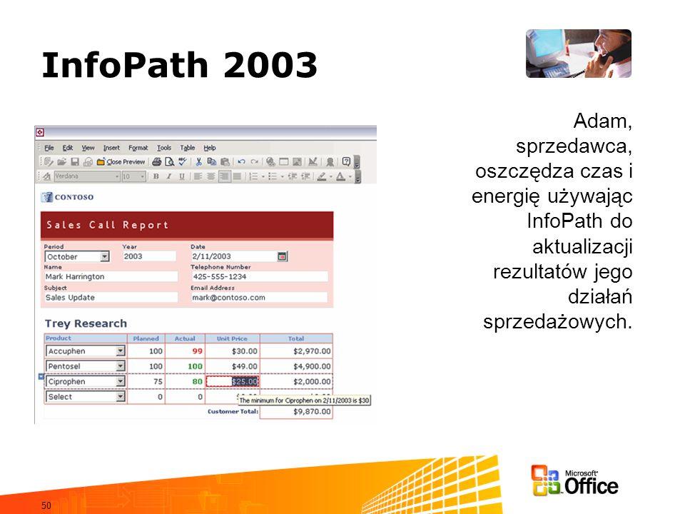 50 InfoPath 2003 Adam, sprzedawca, oszczędza czas i energię używając InfoPath do aktualizacji rezultatów jego działań sprzedażowych.