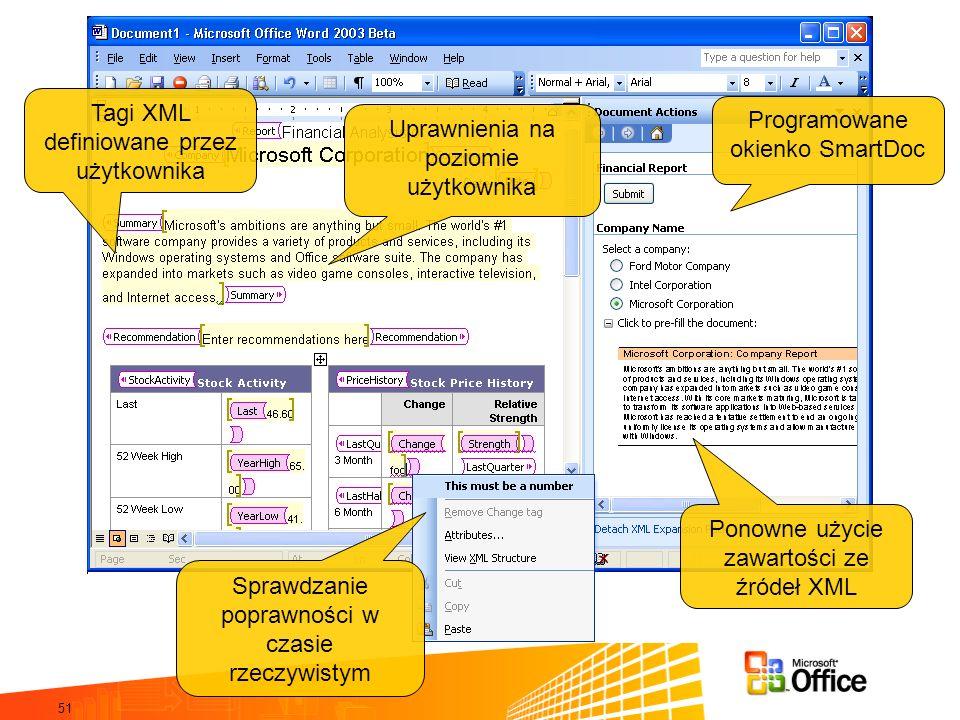 51 Programowane okienko SmartDoc Tagi XML definiowane przez użytkownika Sprawdzanie poprawności w czasie rzeczywistym Uprawnienia na poziomie użytkownika Ponowne użycie zawartości ze źródeł XML