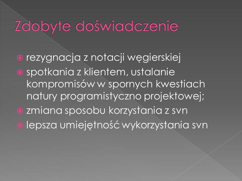 rezygnacja z notacji węgierskiej spotkania z klientem, ustalanie kompromisów w spornych kwestiach natury programistyczno projektowej; zmiana sposobu k
