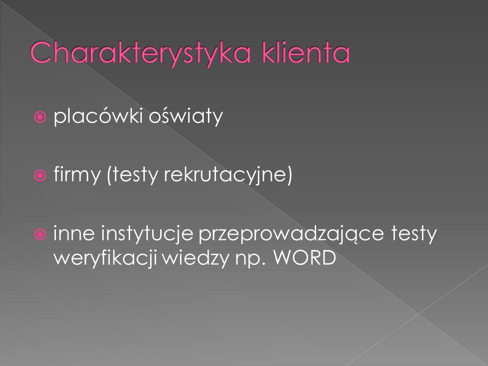 placówki oświaty firmy (testy rekrutacyjne) inne instytucje przeprowadzające testy weryfikacji wiedzy np. WORD