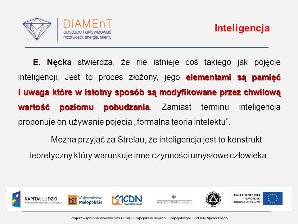 Projekt współfinansowany przez Unię Europejską w ramach Europejskiego Funduszu Społecznego Inteligencja elementami są pamięć i uwaga które w istotny s