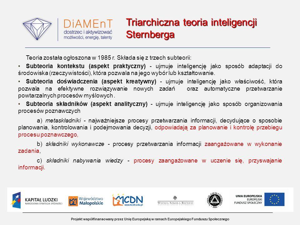 Projekt współfinansowany przez Unię Europejską w ramach Europejskiego Funduszu Społecznego Triarchiczna teoria inteligencji Sternberga Triarchiczna te