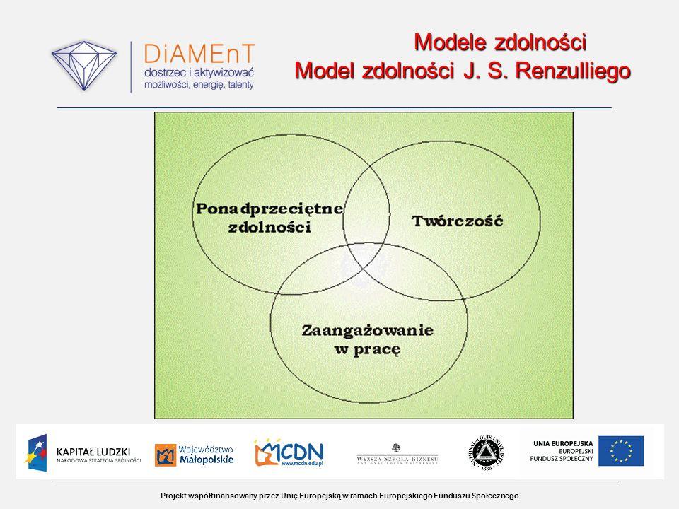 Projekt współfinansowany przez Unię Europejską w ramach Europejskiego Funduszu Społecznego Modele zdolności Model zdolności J. S. Renzulliego Modele z