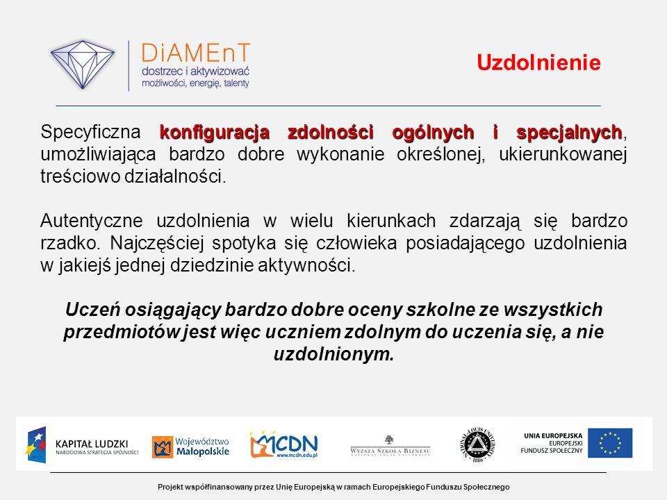 Projekt współfinansowany przez Unię Europejską w ramach Europejskiego Funduszu Społecznego Uzdolnienie konfiguracja zdolności ogólnych i specjalnych S