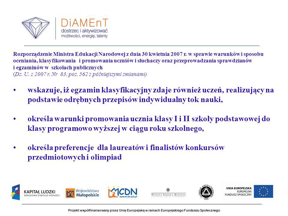 Projekt współfinansowany przez Unię Europejską w ramach Europejskiego Funduszu Społecznego Rozporządzenie Ministra Edukacji Narodowej z dnia 30 kwietnia 2007 r.