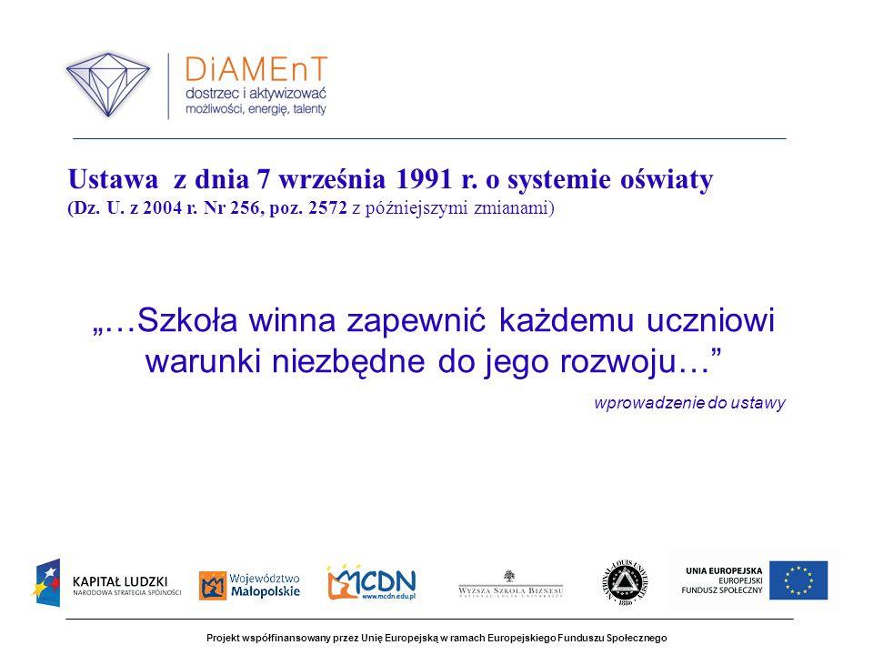 Projekt współfinansowany przez Unię Europejską w ramach Europejskiego Funduszu Społecznego …Szkoła winna zapewnić każdemu uczniowi warunki niezbędne do jego rozwoju… wprowadzenie do ustawy Ustawa z dnia 7 września 1991 r.