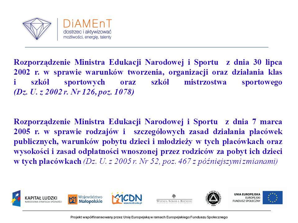 Projekt współfinansowany przez Unię Europejską w ramach Europejskiego Funduszu Społecznego Rozporządzenie Ministra Edukacji Narodowej i Sportu z dnia 30 lipca 2002 r.