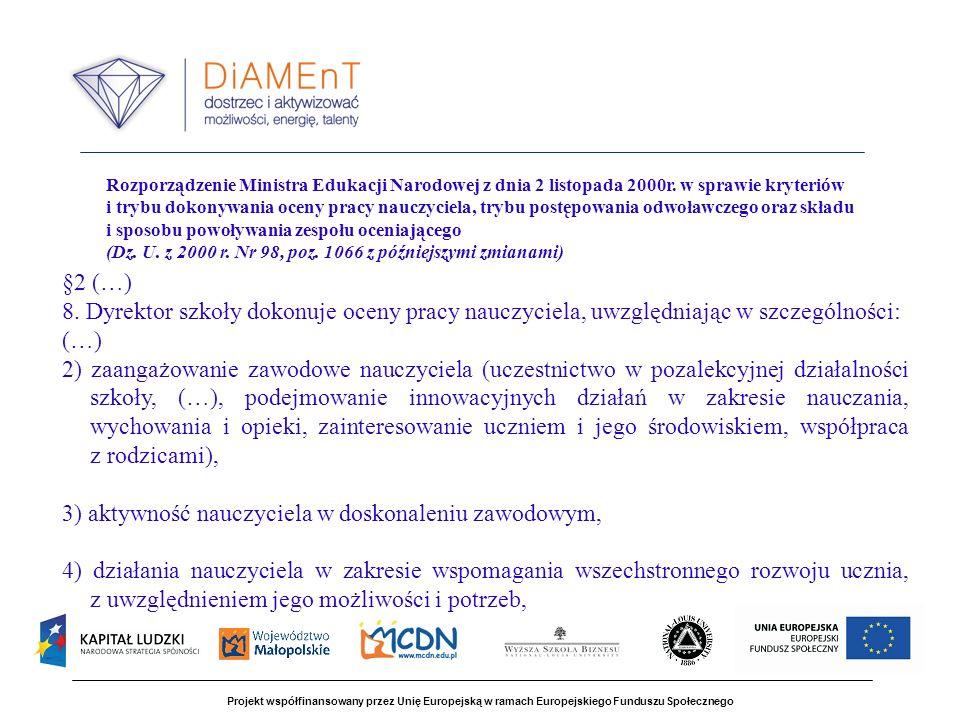 Projekt współfinansowany przez Unię Europejską w ramach Europejskiego Funduszu Społecznego Rozporządzenie Ministra Edukacji Narodowej z dnia 2 listopada 2000r.
