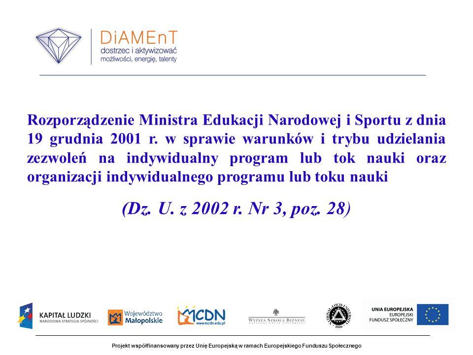 Projekt współfinansowany przez Unię Europejską w ramach Europejskiego Funduszu Społecznego Rozporządzenie Ministra Edukacji Narodowej i Sportu z dnia 19 grudnia 2001 r.