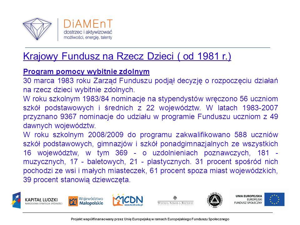 Projekt współfinansowany przez Unię Europejską w ramach Europejskiego Funduszu Społecznego Krajowy Fundusz na Rzecz Dzieci ( od 1981 r.) Program pomocy wybitnie zdolnym 30 marca 1983 roku Zarząd Funduszu podjął decyzję o rozpoczęciu działań na rzecz dzieci wybitnie zdolnych.