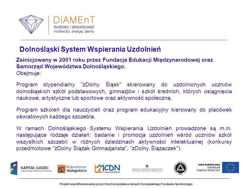 Projekt współfinansowany przez Unię Europejską w ramach Europejskiego Funduszu Społecznego Dolnośląski System Wspierania Uzdolnień Zainicjowany w 2001 roku przez Fundacja Edukacji Międzynarodowej oraz Samorząd Województwa Dolnośląskiego.