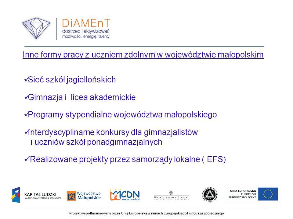 Projekt współfinansowany przez Unię Europejską w ramach Europejskiego Funduszu Społecznego Inne formy pracy z uczniem zdolnym w województwie małopolsk