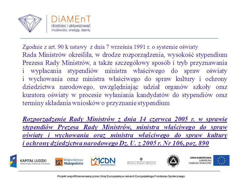Projekt współfinansowany przez Unię Europejską w ramach Europejskiego Funduszu Społecznego Zgodnie z art.