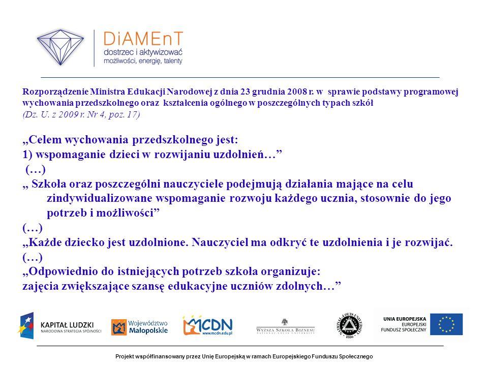 Projekt współfinansowany przez Unię Europejską w ramach Europejskiego Funduszu Społecznego Rozporządzenie Ministra Edukacji Narodowej z dnia 23 grudnia 2008 r.