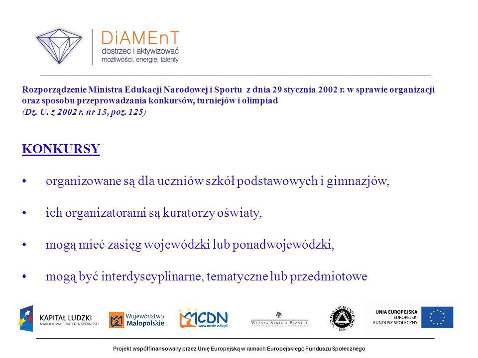 Projekt współfinansowany przez Unię Europejską w ramach Europejskiego Funduszu Społecznego Rozporządzenie Ministra Edukacji Narodowej i Sportu z dnia