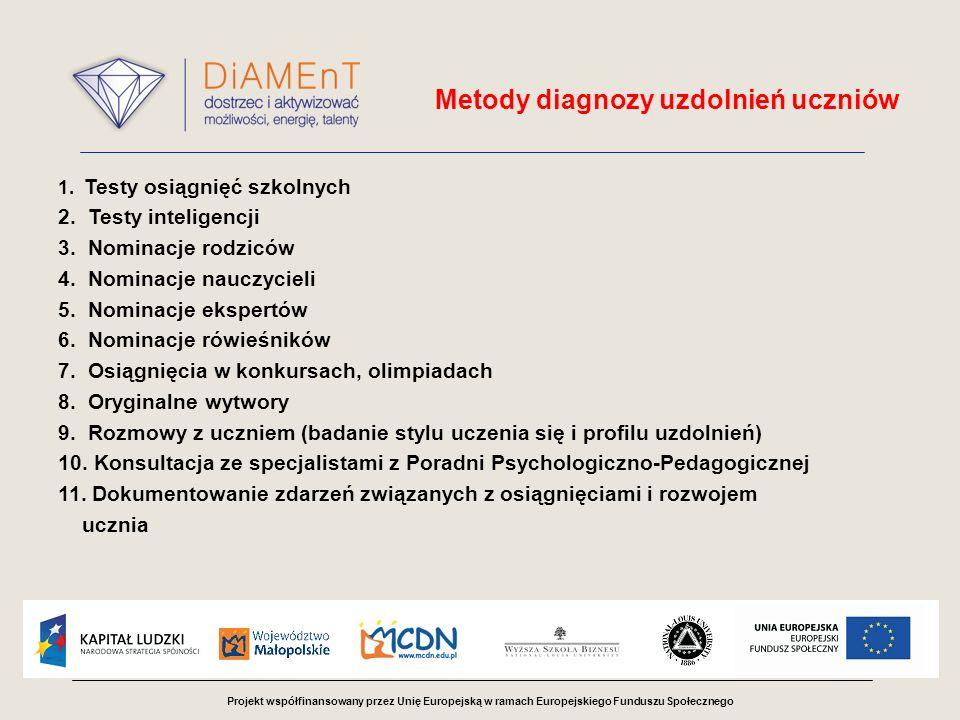 Projekt współfinansowany przez Unię Europejską w ramach Europejskiego Funduszu Społecznego Diagnoza uzdolnień uczniów w projekcie DiAMEnT Opracowanie: Otylia Pulit-Parszewska Krystyna Dynowska-Chmielewska