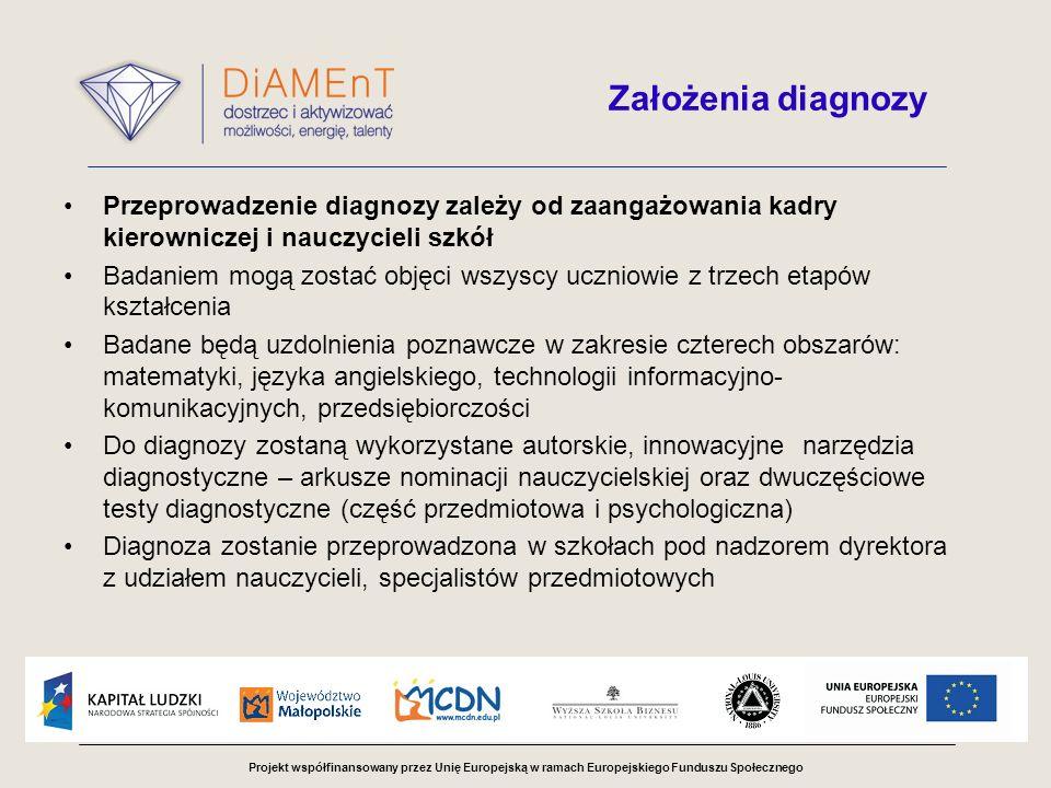 Projekt współfinansowany przez Unię Europejską w ramach Europejskiego Funduszu Społecznego Założenia diagnozy Badanie zostanie przeprowadzone w dwóch etapach Testy diagnostyczne poprawiane będą przez zewnętrzne komisje powiatowe powołane do poszczególnych typów szkół W skład komisji powiatowych wejdą nauczyciele - specjaliści przedmiotowi oraz psycholog Wyniki diagnozy pozwolą na utworzenie grup przedmiotowych z poszczególnych etapów kształcenia do zajęć pozaszkolnych w POWUZ Po zakończeniu diagnozy i zebraniu wniosków zostanie opracowana ostateczna wersja systemu diagnozowania uzdolnień uczniów w województwie małopolskim