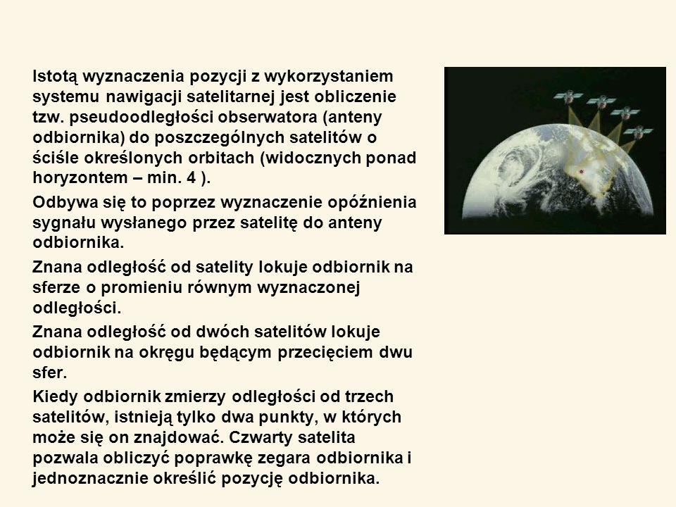 Istotą wyznaczenia pozycji z wykorzystaniem systemu nawigacji satelitarnej jest obliczenie tzw. pseudoodległości obserwatora (anteny odbiornika) do po