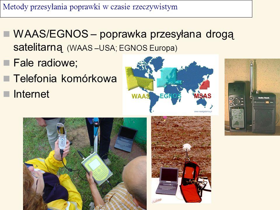 Metody przesyłania poprawki w czasie rzeczywistym WAAS/EGNOS – poprawka przesyłana drogą satelitarną (WAAS –USA; EGNOS Europa) Fale radiowe; Telefonia
