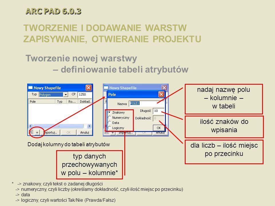 ARC PAD 6.0.3 TWORZENIE I DODAWANIE WARSTW ZAPISYWANIE, OTWIERANIE PROJEKTU Tworzenie nowej warstwy – definiowanie tabeli atrybutów nadaj nazwę polu –