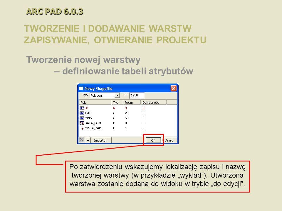 ARC PAD 6.0.3 TWORZENIE I DODAWANIE WARSTW ZAPISYWANIE, OTWIERANIE PROJEKTU Tworzenie nowej warstwy – definiowanie tabeli atrybutów Po zatwierdzeniu w