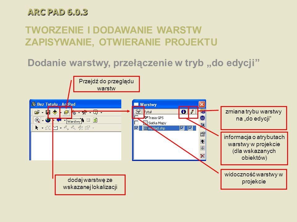 ARC PAD 6.0.3 TWORZENIE I DODAWANIE WARSTW ZAPISYWANIE, OTWIERANIE PROJEKTU Dodanie warstwy, przełączenie w tryb do edycji widoczność warstwy w projek