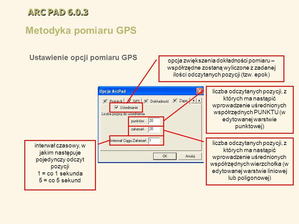 ARC PAD 6.0.3 Metodyka pomiaru GPS opcja zwiększenia dokładności pomiaru – współrzędne zostaną wyliczone z zadanej ilości odczytanych pozycji (tzw. ep