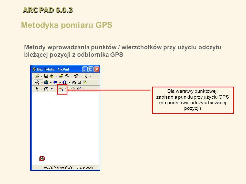ARC PAD 6.0.3 Metodyka pomiaru GPS Dla warstwy punktowej: zapisanie punktu przy użyciu GPS (na podstawie odczytu bieżącej pozycji) Metody wprowadzania