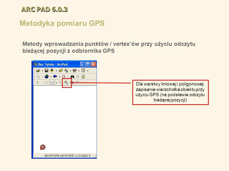 ARC PAD 6.0.3 Metodyka pomiaru GPS Dla warstwy liniowej i poligonowej: zapisanie wierzchołka obiektu przy użyciu GPS (na podstawie odczytu bieżącej po