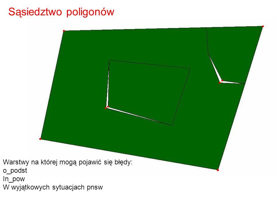 Sąsiedztwo poligonów Warstwy na której mogą pojawić się błędy: o_podst In_pow W wyjątkowych sytuacjach pnsw