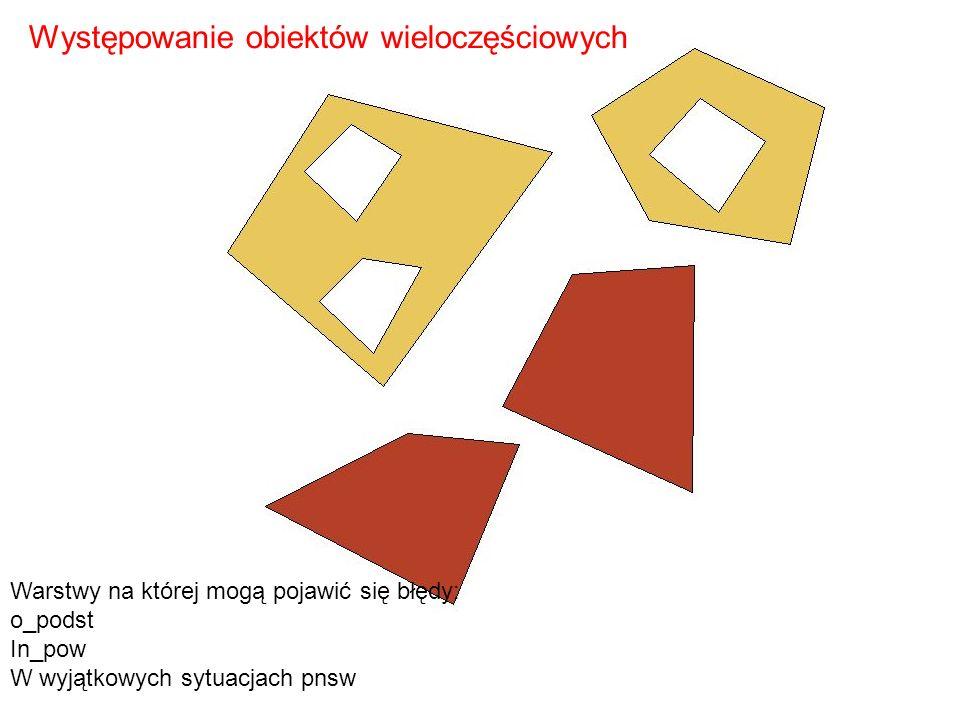 Warstwy na której mogą pojawić się błędy: o_podst In_pow W wyjątkowych sytuacjach pnsw Występowanie obiektów wieloczęściowych