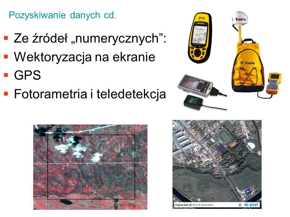 Ze źródeł numerycznych: Wektoryzacja na ekranie GPS Fotorametria i teledetekcja Pozyskiwanie danych cd.