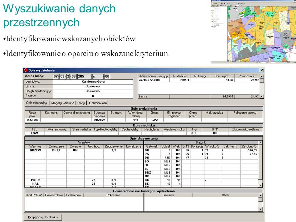 Wyszukiwanie danych przestrzennych Identyfikowanie wskazanych obiektów Identyfikowanie o oparciu o wskazane kryterium