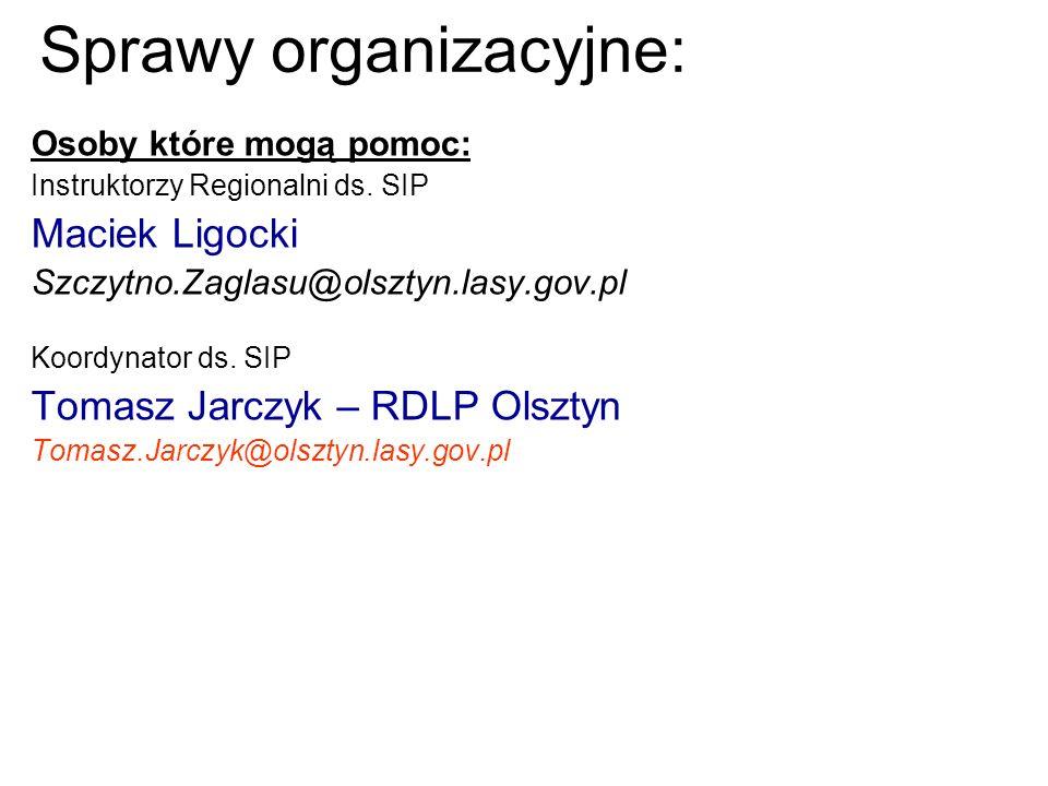 Sprawy organizacyjne: Osoby które mogą pomoc: Instruktorzy Regionalni ds. SIP Maciek Ligocki Szczytno.Zaglasu@olsztyn.lasy.gov.pl Koordynator ds. SIP