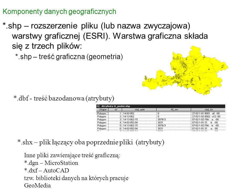 *.shp – rozszerzenie pliku (lub nazwa zwyczajowa) warstwy graficznej (ESRI). Warstwa graficzna składa się z trzech plików: *.shp – treść graficzna (ge