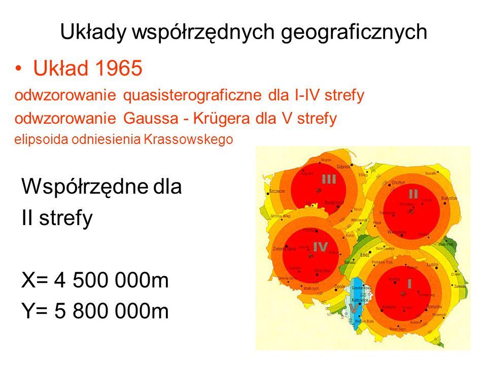 Układy współrzędnych geograficznych Układ 1965 odwzorowanie quasisterograficzne dla I-IV strefy odwzorowanie Gaussa - Krügera dla V strefy elipsoida o