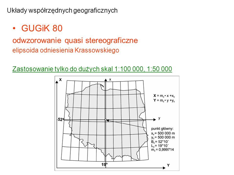 GUGiK 80 odwzorowanie quasi stereograficzne elipsoida odniesienia Krassowskiego Zastosowanie tylko do dużych skal 1:100 000, 1:50 000 Układy współrzęd