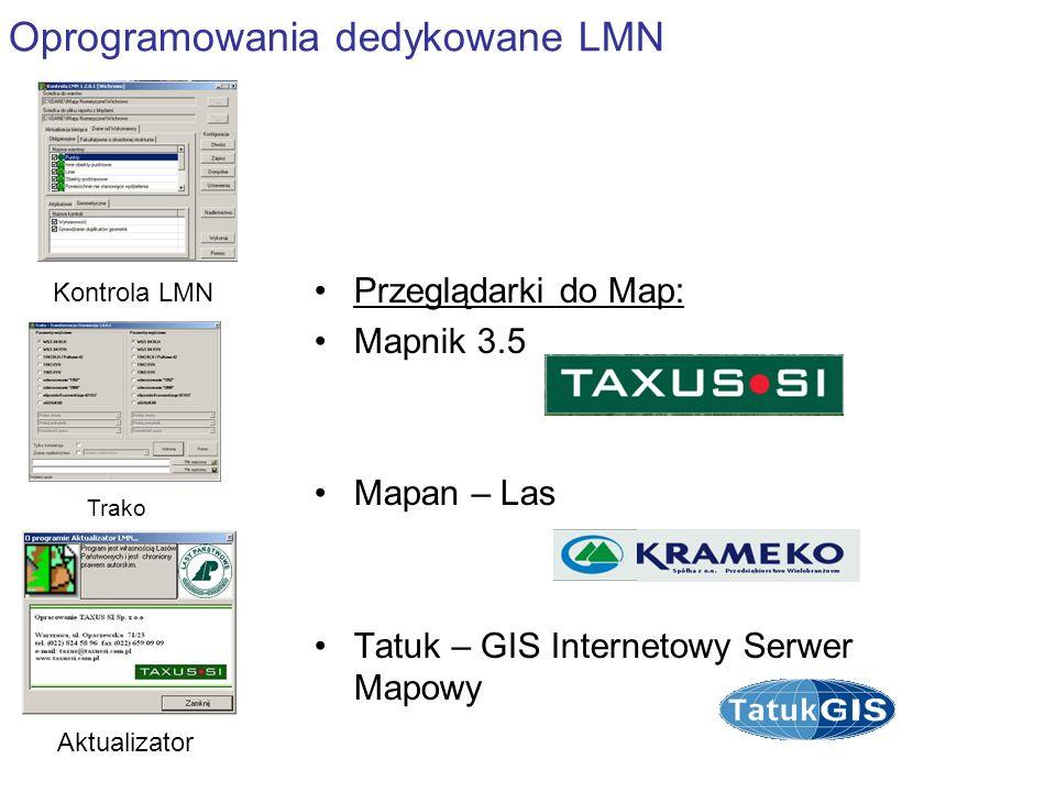 Oprogramowania dedykowane LMN Kontrola LMN Aktualizator Trako Przeglądarki do Map: Mapnik 3.5 Mapan – Las Tatuk – GIS Internetowy Serwer Mapowy
