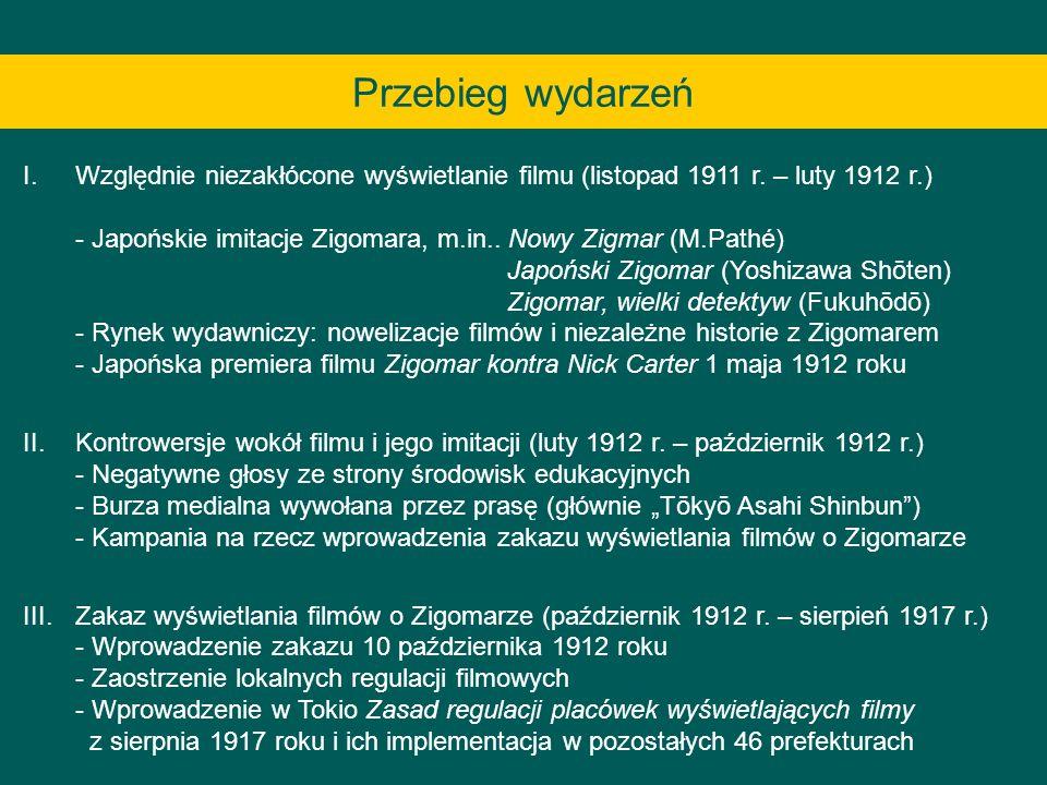 Przebieg wydarzeń I.Względnie niezakłócone wyświetlanie filmu (listopad 1911 r. – luty 1912 r.) - Japońskie imitacje Zigomara, m.in.. Nowy Zigmar (M.P