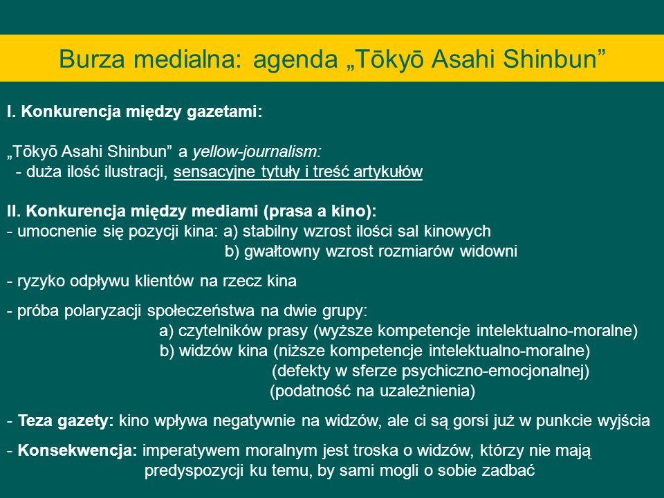 Burza medialna: agenda Tōkyō Asahi Shinbun I. Konkurencja między gazetami: Tōkyō Asahi Shinbun a yellow-journalism: - duża ilość ilustracji, sensacyjn