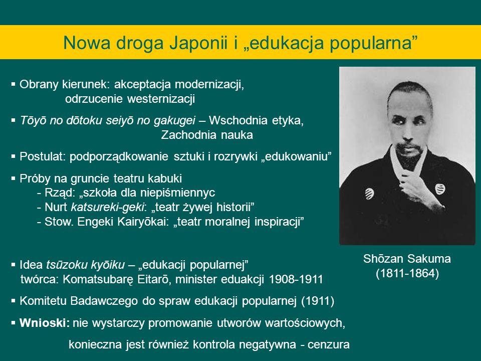Nowa droga Japonii i edukacja popularna Obrany kierunek: akceptacja modernizacji, odrzucenie westernizacji Tōyō no dōtoku seiyō no gakugei – Wschodnia