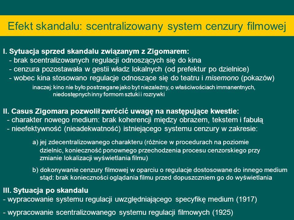 Efekt skandalu: scentralizowany system cenzury filmowej I. Sytuacja sprzed skandalu związanym z Zigomarem: - brak scentralizowanych regulacji odnosząc
