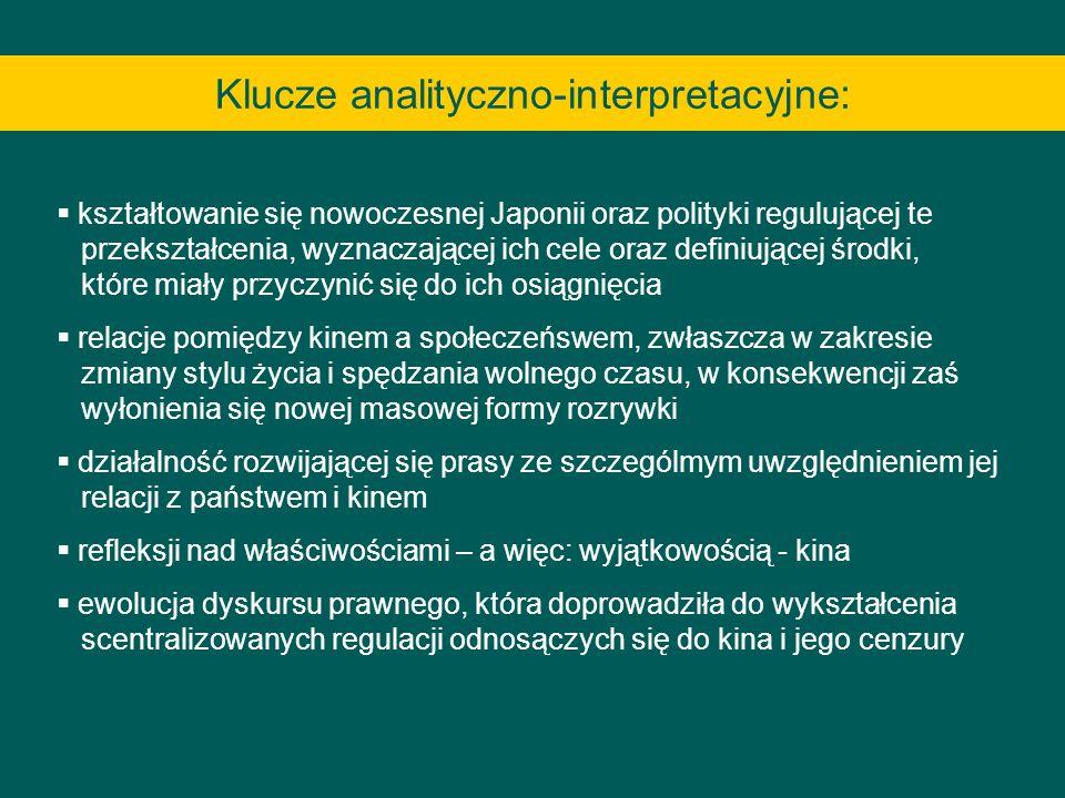 Klucze analityczno-interpretacyjne: kształtowanie się nowoczesnej Japonii oraz polityki regulującej te przekształcenia, wyznaczającej ich cele oraz de