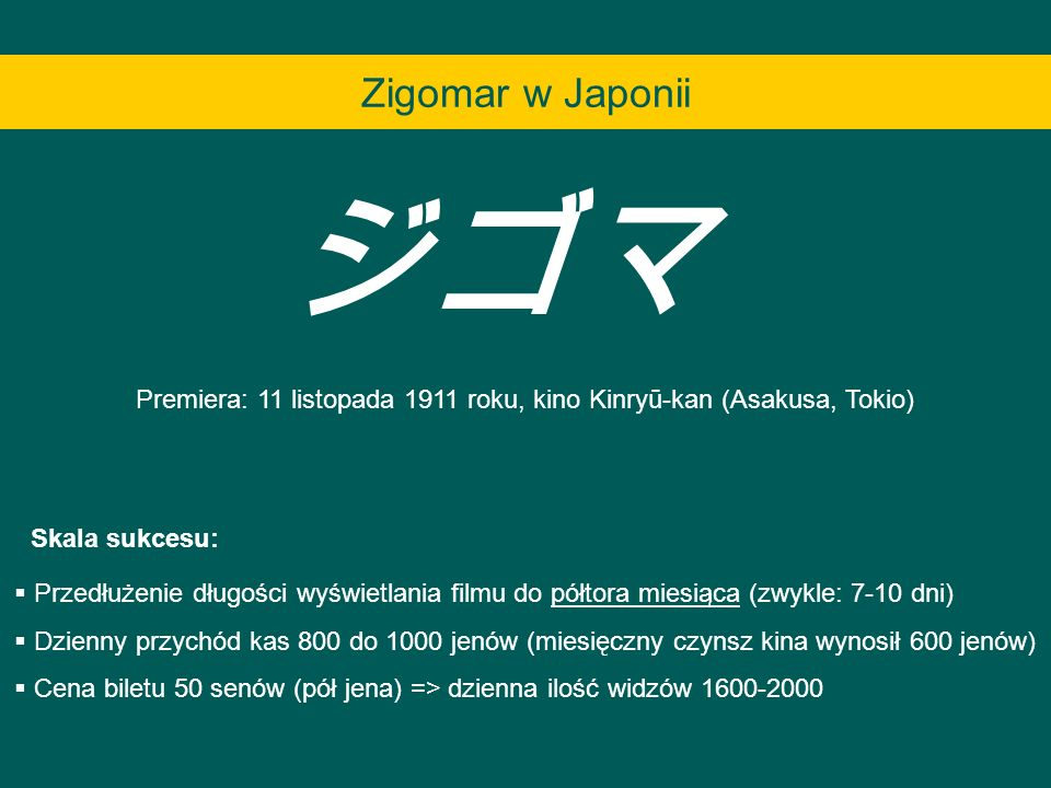 Premiera: 11 listopada 1911 roku, kino Kinryū-kan (Asakusa, Tokio) Przedłużenie długości wyświetlania filmu do półtora miesiąca (zwykle: 7-10 dni) Dzi